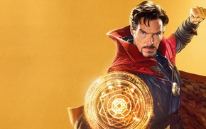 Picture the portal, Benedict Cumberbatch, Benedict Cumberbatch, yellow background, Doctor Strange, Doctor Strange