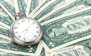 Picture watch, money, dollars, currency, the bucks, closeup, banknotes, pocket watch, fan
