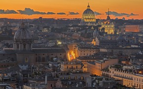 Picture the evening, Rome, Italy, panorama, glow