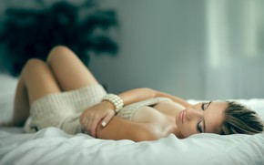 Picture girl, pose, photo, room, bed, lies, beautiful, Sabrina, Robert Choquette