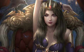 Wallpaper look, girl, pose, bird, chair, crown, fantasy, art, Raven, the throne