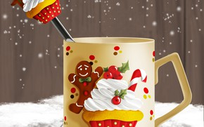 Picture figure, spoon, Cup, New year, Christmas, New Year