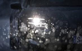 Picture snow, black, headlight, Porsche, before, 2020, Taycan, Taycan 4S