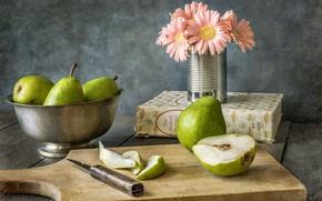 Wallpaper flower, knife, pear