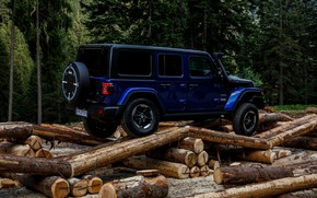 Picture blue, SUV, logs, 4x4, Jeep, 2019, Wrangler Unlimited 1941 Sahara