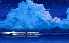 Picture Water, Clouds, Reflection, Sea, Night, Stars, Style, Train, Clouds, Art, Stars, Art, Water, Style, Night, …