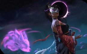 Picture girl, fantasy, weapon, eclipse, night, tattoo, samurai, artist, digital art, artwork, mask, warrior, swords, fantasy …