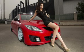 Picture look, Girls, Mazda, Asian, beautiful girl, red car, posing on the hood