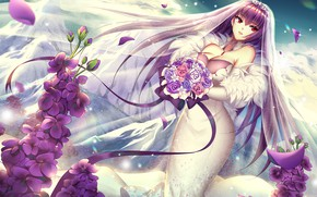 Picture girl, bouquet, the bride, veil, Fate / Grand Order, The destiny of a great campaign