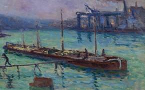 Picture landscape, picture, 1910, Maximilien Luce, Maximilien Luce, The Peniche near the Banks of the Seine
