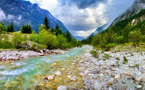 Picture mountains, river, stones, photo