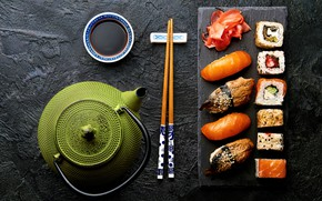 Picture kettle, sauce, sushi, rolls