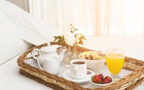 Picture photo, Glass, Strawberry, Cup, Food, Breakfast, Juice, Kettle, Muesli