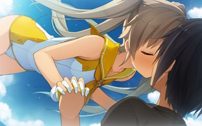 Picture kiss, anime, pair, Aokana