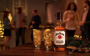 Picture lights, people, holiday, New Year, party, whiskey, booze, Jim Beam, Бурбон