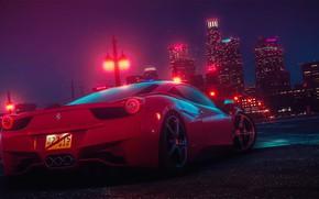 Picture Auto, Night, The city, Machine, Car, NFS, Need for Speed, Ferrari 458 Italia, 2015, Transport …