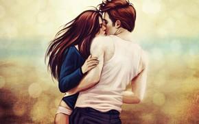 Picture love, romance, kiss, art, Twilight, Edward Cullen, Bella Swan