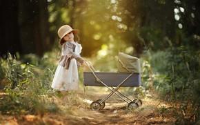 Picture nature, toy, the game, dress, girl, stroller, hat, child, bokeh, Larisa Korsikova