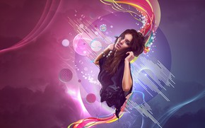 Picture girl, abstraction, background, computer design