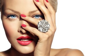 Picture girl, hand, makeup, ring, manicure