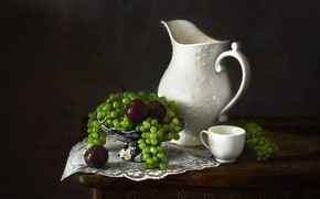 Picture white, drops, green, the dark background, table, food, grapes, mug, Cup, dishes, pitcher, fruit, still …