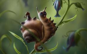 Picture snail, art, house, fragment, children's, Nelly Amosova, Snailcat