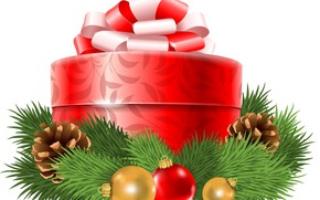 Picture gift, balls, graphics, tree, New year, New Year