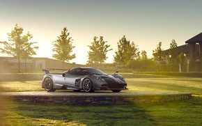 Picture machine, trees, lawn, Pagani, roadster, Huayra BC