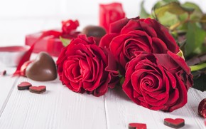 Picture gift, roses, bouquet, hearts, red, red, love, flowers, romantic, hearts, chocolate, valentine's day, roses, gift …