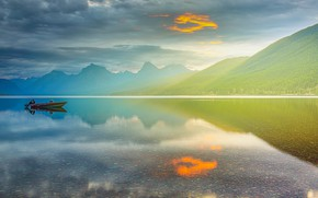Picture forest, the sky, clouds, mountains, fog, lake, reflection, shore, boat, the slopes, the bottom, dal, …