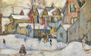 Picture snow, Abraham Manievich, THE BRONX oil on board