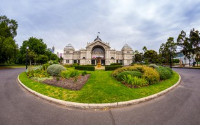 Picture the sky, grass, clouds, trees, design, lawn, home, Australia, the sidewalk, the bushes, Palace, Melbourne