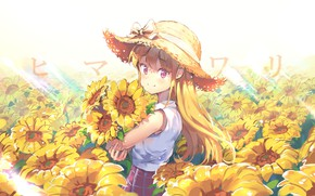 Picture summer, sunflowers, bouquet, girl, bow, vacation, the rays of the sun, long hair, straw hat, …