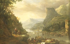 Picture landscape, oil, picture, canvas, Herman Saftleven, Herman Saftleven, 1685, The River view in a Mountainous …