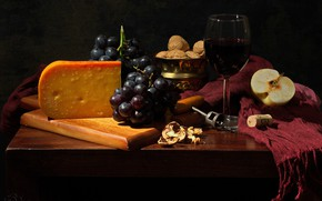 Picture Apple, cheese, grapes