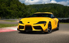 Picture yellow, coupe, Toyota, Supra, the fifth generation, mk5, on the track, double, 2020, GR Above, …