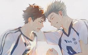 Picture guys, sweat, Haikyuu, Tooru Oikawa, Koutarou Bokuto, Volleyball!!