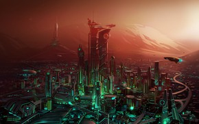 Picture the city, graphics, Painting, Fiction, the city of the future, fences