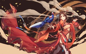 Picture smile, the wind, smoke, tube, train, geisha, mouthpiece, red dress, red eyes, pheasant