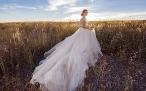 Wallpaper field, grass, style, model, dress, the bride