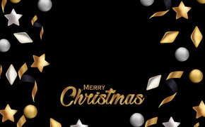 Picture decoration, gold, New Year, Christmas, golden, black background, black, Christmas, background, New Year, decoration, xmas, …