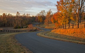Picture road, autumn, the fence