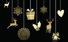 Picture background, holiday, black, New year, gold, decor