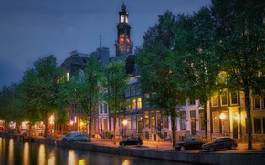 Picture trees, machine, the city, watch, tower, home, the evening, lighting, Amsterdam, lights, channel, Netherlands, promenade, …