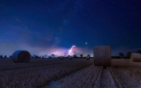Picture field, stars, night, hay, bales, straw, bales