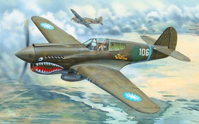 Picture Fighter, P-40, Warhawk, Combat aircraft, Flying Tigers, P-40E