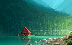 Picture forest, lake, artwork, sawmill