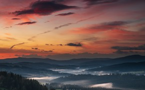 Picture forest, the sky, sunset, mountains, Sośnicki Michael