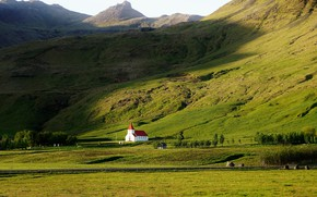 Picture mountains, the slopes, village, green, Church, Iceland, Vic
