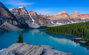 Picture Banff, mountains, national Park, blue, shore, blue, tops, ate, boats, lake, pond, forest, blue, Canada, …